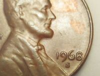 LINCOLN CENT ERROR 1968 S DOUBLE DIE