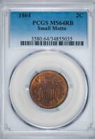 1864 SMALL MOTTO PCGS MINT STATE 64 RB TWO CENT PIECE 2C ITEMJ2907