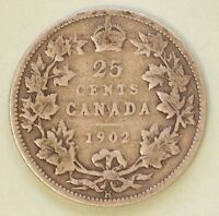 1902 H CANADA QUARTER DOLLAR SILVER  5.8 GR 92.5  SILVER 7.5  COPPER  25 CENTS