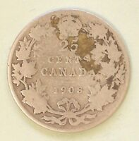 1908 CANADA QUARTER DOLLAR SILVER  5.8 GR 92.5  SILVER 7.5  COPPER  25 CENTS