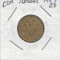 TOMBAC   1943   5 CENTS CANADIAN NICKEL