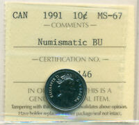 1991 CANADA 10 CENT NBU ICCS MS 67 AFFORDABLE FOR NEW HOBBYIST