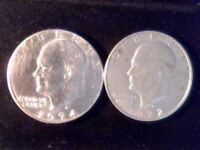 US EISENHOWER SILVER DOLLARS 1972 D & 1974-D - CIRCULATED & UNGRADED