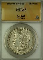 1897-O MORGAN SILVER DOLLAR $1 COIN ANACS AU-53 DETAILS CLEANED
