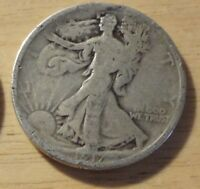 SILVER 1917 D  REVERSE  WALKING LIBERTY HALF DOLLAR   GOOD
