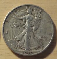 1945 S WALKING LIBERTY HALF DOLLAR   CHOICE EXTRA FINE/ABOUT UNCIRCULATED