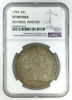 1799 DRAPED BUST DOLLAR  NGC VF DETAILS REPAIRED, WHIZZED  $1 HERALDIC EAGLE