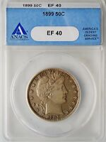 1899 BARBER HALF DOLLAR ANACS EF40 CERTIFIED COLLECTIBLE 90 SILVER COIN EXTRA FINE  002