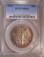1942 PCGS MINT STATE 64 WALKING LIBERTY HALF DOLLAR 90SILVER 50 CENT COIN 013