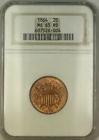 1864 TWO CENT PIECE 2C COIN ANACS MINT STATE 65 RED GEM BU