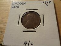 1918 D LINCOLN CENT   CHOICE EXTRA FINE