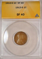 1913S CERTIFIED ANACS EF40 LINCOLN WHEAT EAR PENNY ONE CENT F S&H COIN EXTRA FINE  095