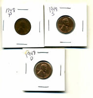 1948 P,D,S WHEAT PENNIES LINCOLN CENTS CIRCULATED 2X2 FLIPS 3 COIN PDS SET1100