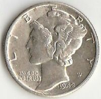 SILVER 1942 MERCURY DIME   CHOICE BRILLIANT UNCIRCULATED