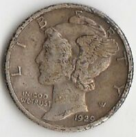 SILVER 1929 MERCURY DIME   EXTRA FINE  SLIGHTLY DISCOLORED