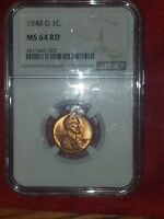 1948 D LINCOLN WHEAT CENT NGC MINT STATE 64RB