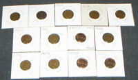 LOT OF 13 LINCOLN WHEAT CENT PIECES, RANGE: 1950S, INCL MULTIPLES, HOME MOUNTED