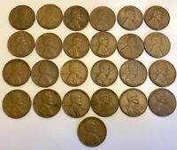 MIXED LOT OF 25 WHEAT CENTS 1946  UNGRADED UNCLEANED