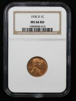 1936-D WHEAT CENT NGC MINT STATE 66 RED