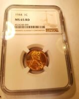 1944 P LINCOLN CENT NGC MINT STATE 65 RD GEM BU UNCIRCULATED PENNY BLUE TONING OBVERSE