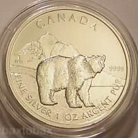 2011 CANADIAN GRIZZLY BEAR ONE OUNCE .9999 SILVER $5 COIN  B