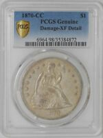 1870-CC SEATED LIBERTY DOLLAR $ 928126-7 EXTRA FINE  DETAIL SECURE PLUS PCGS