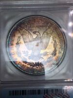 1881-S $1 MORGAN SILVER DOLLAR ICG MINT STATE 63 LY RAINBOW TONED