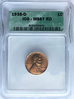 1938-D CERTIFIED MINT STATE 67 RD RED ICG LINCOLN WHEAT EAR PENNY ONE CENT F S&H COIN 289