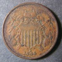 1864 TWO CENTS 2C SHIPS FREE