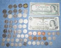 LOT OF CANADIAN COINS AND PAPER MONEY 1920 2009