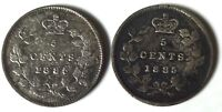 2 CANADA 5 CENTS SILVER 1885 LARGE 5
