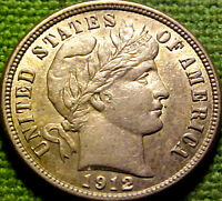 1912 BARBER DIME 10 CENTS 10C   41PS
