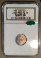 1837 NGC & CAC AU58 SEATED LIBERTY DIME 10C - NO STARS - LARGE DATE