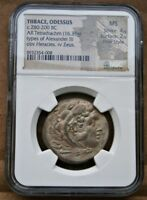 GREECE THRACE ODESSUS NGC MS UNC SILVER TETRADRACHM 280 - 200 BC ALEXANDER III