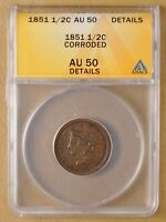 1851 BRAIDED HAIR HALF CENT ANACS AU 50 DETAILS