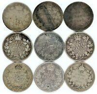CANADA 10 CENTS LOT OF 9 DATES FROM 1882 TO 1913