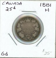 CANADA 1881 H 25 CENTS