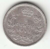CANADA 1871 7/7 5 CENTS SILVER