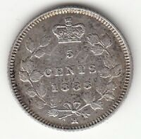 CANADA 1883 H OBVERSE 5 5 CENTS SILVER