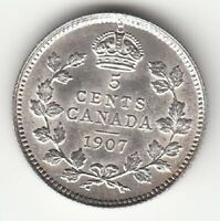 CANADA 1907 5 CENTS SILVER