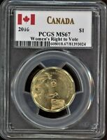 CANADA $1 2016 WOMEN'S RIGHT TO VOTE PCGS MS67