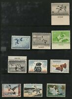10 EARLY US MINT ORIGINAL GUM DUCK STAMPS   4 WITH PLATE NUMBERS