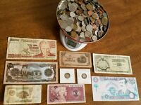 LARGE JUNK DRAWER LOT  WORLD COINS & BANKNOTES   SOME SILVER