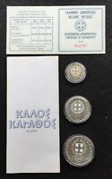 1981 GREEK 850 DRACHMAE 3  COIN PROOF SET XIII EAC COMMEMORA
