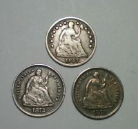 1857 1872 S AND 1873 S SEATED LIBERTY HALF DIME