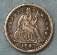1845 SEATED DIME CHOICE ORIGINAL XF BETTER DATE TONED FULLY