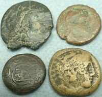 LOT OF 4 GREEK BRONZE COINS
