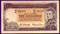 R17 TEN SHILLING NOTE: COOMBS AND WILSON  CRISP AND EF  NO