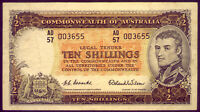 R16 NICE  TEN SHILLING NOTE: COOMBS AND WILSON  AEF  NO  RES