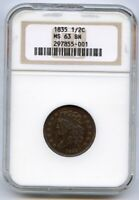 1835 CLASSIC HEAD HALF CENT UNC. NGC MINT STATE 63 BROWN